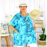 Tunique été coton lin femme grande taille MUSIK turquoise Tunique femme grande taille
