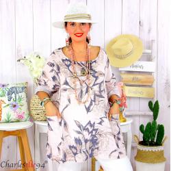 Tunique été coton lin femme grande taille MUSIK rose Tunique femme grande taille
