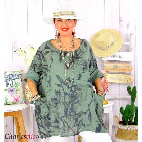 Tunique été coton lin femme grande taille MUSIK kaki Tunique femme grande taille