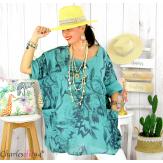 Tunique été coton lin femme grande taille MUSIK vert amande Tunique femme grande taille