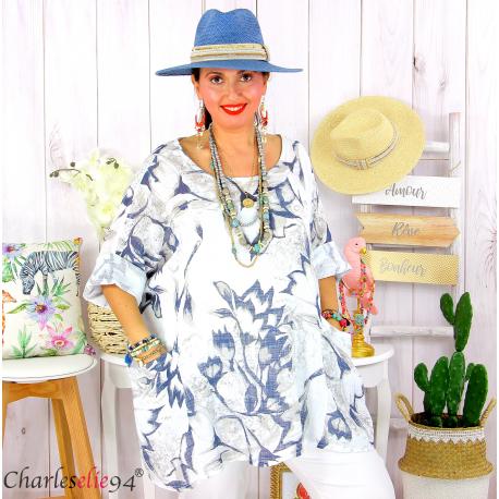 Tunique été coton lin femme grande taille MUSIK blanche Tunique femme grande taille