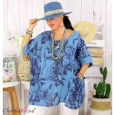 Tunique été coton lin femme grande taille MUSIK bleu jean Tunique femme grande taille