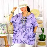 Tunique été coton lin femme grande taille MUSIK parme Tunique femme grande taille