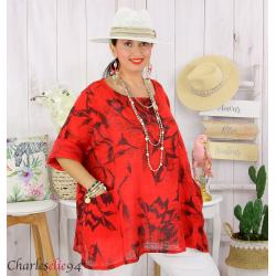 Tunique été coton lin femme grande taille MUSIK rouge Tunique femme grande taille