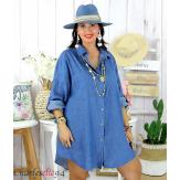 Chemise longue en jean coton été femme grande taille DIRTY foncé Chemise jean femme