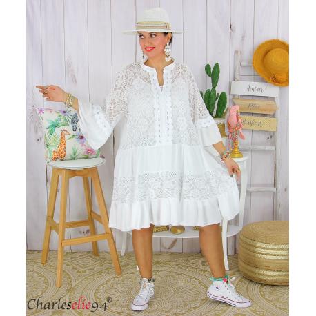 Robe dentelle été femme grande taille STELIAN blanc Robe tunique femme grande taille