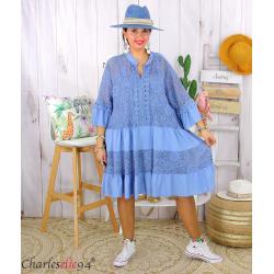 Robe dentelle été femme grande taille STELIAN bleu jean Robe tunique femme grande taille