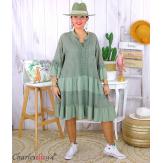 Robe dentelle été femme grande taille STELIAN kaki Robe tunique femme grande taille