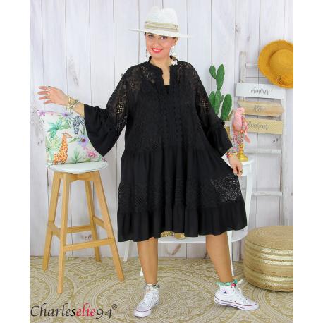 Robe dentelle été femme grande taille STELIAN noir Robe tunique femme grande taille