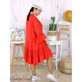 Robe dentelle été femme grande taille STELIAN rouge Robe tunique femme grande taille