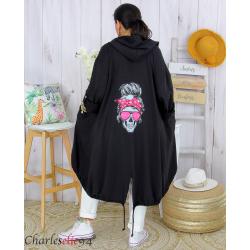 Veste longue capuche sweat femme grande taille skull PIPO noire Veste femme grande taille