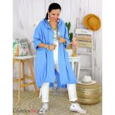 Veste longue capuche sweat femme grande taille skull PIPO bleu Veste femme grande taille