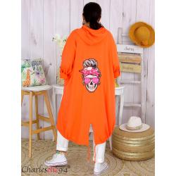 Veste longue capuche sweat femme grande taille skull PIPO orange Veste femme grande taille