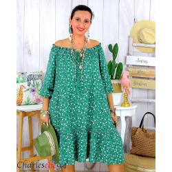 Robe été liberty femme grande taille bohème ANITA vert Robe été grande taille