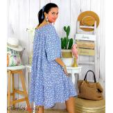 Robe été liberty femme grande taille bohème ANITA bleu jean Robe été grande taille