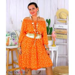 Robe été liberty femme grande taille bohème ANITA orange Robe été grande taille