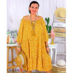 Robe été liberty femme grande taille bohème ANITA jaune ocre Robe été grande taille