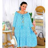 Robe été liberty femme grande taille bohème ANITA bleu mer Robe été grande taille