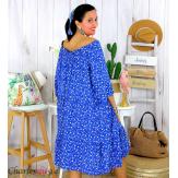 Robe été liberty femme grande taille bohème ANITA bleu royal Robe été grande taille