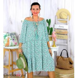 Robe été liberty femme grande taille bohème ANITA vert jade Robe été grande taille
