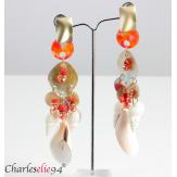 Boucles d 'oreilles pendantes nacre coquillages perles BCL1 Bijoux fantaisie