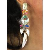 Boucles d 'oreilles pendantes nacre coquillages perles BCL4 Bijoux fantaisie