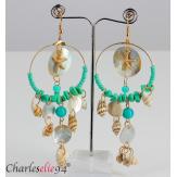 Boucles d 'oreilles pendantes nacre coquillages perles BCL6 Bijoux fantaisie