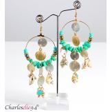 Boucles d 'oreilles pendantes nacre coquillages perles BCL9 Bijoux fantaisie