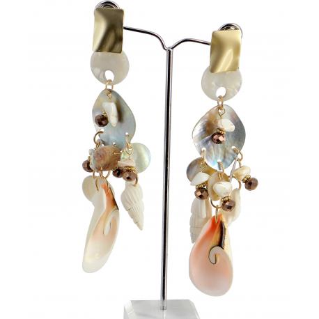 Boucles d 'oreilles pendantes nacre coquillages perles BCL2 Bijoux fantaisie