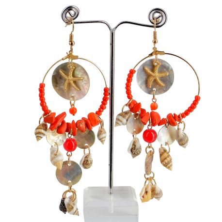 Boucles d 'oreilles pendantes nacre coquillages perles BCL5 Bijoux fantaisie