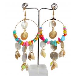 Boucles d 'oreilles pendantes nacre coquillages perles BCL7 Bijoux fantaisie