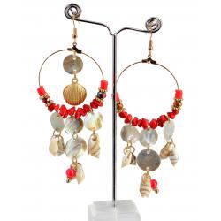 Boucles d 'oreilles pendantes nacre coquillages perles BCL8 Bijoux fantaisie