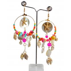 Boucles d 'oreilles pendantes nacre coquillages perles BCL10 Bijoux fantaisie