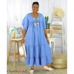 Robe longue pur lin été grande taille BEATRICE bleu jean Robe été grande taille
