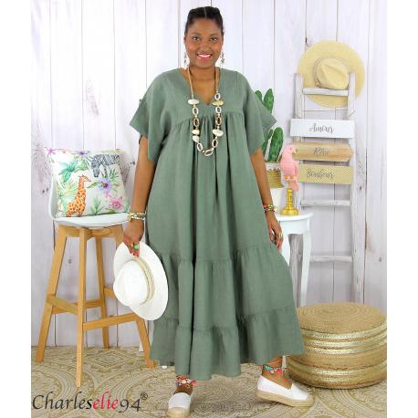Robe longue pur lin été grande taille BEATRICE kaki Robe été grande taille