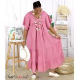 Robe longue pur lin été grande taille BEATRICE vieux rose Robe été grande taille