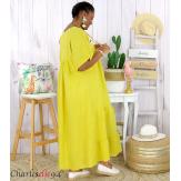 Robe longue pur lin été grande taille BEATRICE jaune Robe été grande taille