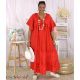 Robe longue pur lin été grande taille BEATRICE rouge Robe été grande taille