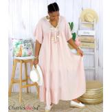 Robe longue pur lin été grande taille BEATRICE rose Robe été grande taille