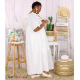 Robe longue pur lin été grande taille BEATRICE blanc Robe été grande taille