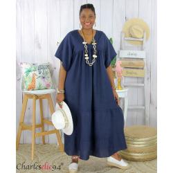 Robe longue pur lin été grande taille BEATRICE bleu marine Robe été grande taille