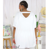 Tunique t-shirt long été femme grande taille BRUNA blanc Tee shirt tunique femme grande taille