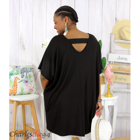 Tunique t-shirt long été femme grande taille BRUNA noir Tee shirt tunique femme grande taille