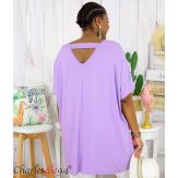 Tunique t-shirt long été femme grande taille BRUNA parme Tee shirt tunique femme grande taille