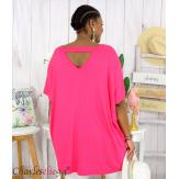 Tunique t-shirt long été femme grande taille BRUNA fushia Tee shirt tunique femme grande taille
