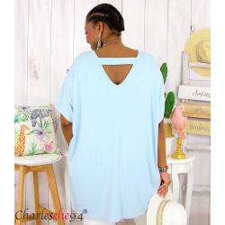 Tunique t-shirt long été femme grande taille BRUNA bleu ciel Tee shirt tunique femme grande taille