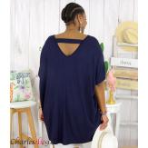 Tunique t-shirt long été femme grande taille BRUNA bleu marine Tee shirt tunique femme grande taille