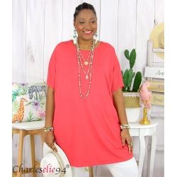 Tunique t-shirt long été femme grande taille BRUNA brique Tee shirt tunique femme grande taille