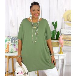 Tunique t-shirt long été femme grande taille BRUNA kaki Tee shirt tunique femme grande taille