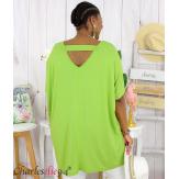 Tunique t-shirt long été femme grande taille BRUNA vert Tee shirt tunique femme grande taille